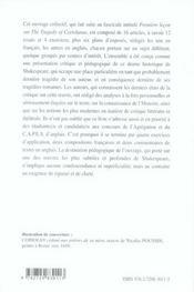 Coriolanus, william shakespeare - 4ème de couverture - Format classique