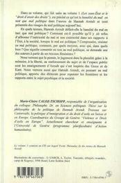 Hannah Arendt t.2 ; la banalita du mal comme mal politique - 4ème de couverture - Format classique