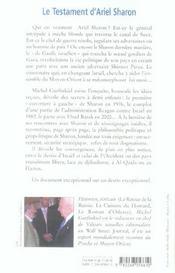 Le testament d'ariel sharon - 4ème de couverture - Format classique
