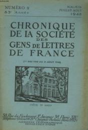 CHRONIQUE DE LA SOCIETE DES GENS DE LETTRES DE FRANCE N°2, 83e ANNEE ( 1er mai 1948 au 31 aout 1948) - Couverture - Format classique