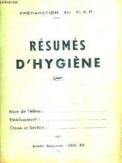 Preparation Au Cap Resumes D'Hygiene - Annee Scolaire 1951 - 52 / 3e Annee Des Centres D'Apprentissage. - Couverture - Format classique