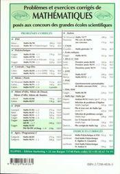 Problemes Corriges De Mathematiques Concours Communs Polytechniques Filieres Mp Pc Tome 7 1995-1997 - 4ème de couverture - Format classique