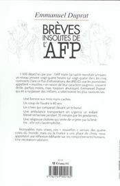 Breves insolites de l'afp - 4ème de couverture - Format classique