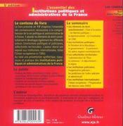 Essentiel institutions politiques administratives france (l') - 4ème de couverture - Format classique