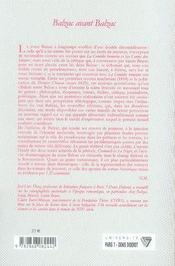 Balzac avant balzac - 4ème de couverture - Format classique