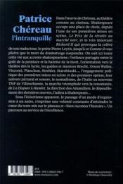 Patrice Chereau l'intranquille - 4ème de couverture - Format classique