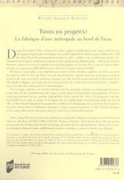 Tunis en projets une metropole au bord de l eau - 4ème de couverture - Format classique