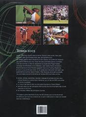 Tennis 2003 (édition 2003) - 4ème de couverture - Format classique
