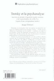 Trotsky et la psychanalyse - 4ème de couverture - Format classique