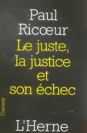 Le juste, la justice et son échec - Intérieur - Format classique