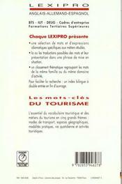 LEXIPRO ; les mots clés du tourisme - 4ème de couverture - Format classique