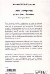 Des vampires chez les plantes ; pen guerre contre les plantes parasites - 4ème de couverture - Format classique