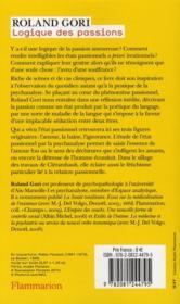Logique des passions - 4ème de couverture - Format classique