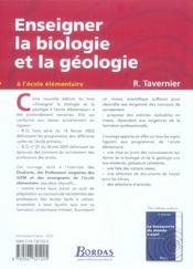 Enseigner la biologie et la géologie ; à l'école élémentaire (edition 2006) - 4ème de couverture - Format classique