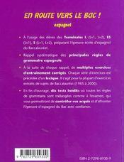 En Route Vers Le Bac Espagnol Les Principales Regles De Grammaire Exercices Corriges - 4ème de couverture - Format classique