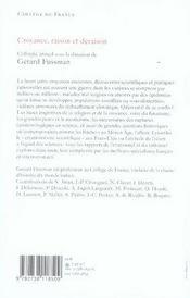 Croyance, raison et déraison - 4ème de couverture - Format classique