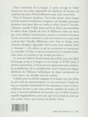 La justesse de la langue - 4ème de couverture - Format classique
