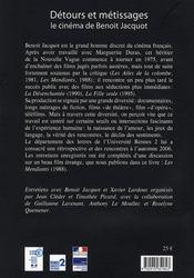 Detours Et Metissages Le Cinema De Benoit Jacquot + Dvd - 4ème de couverture - Format classique