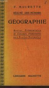 Resume Aide-Memoire Geographie, Brevet Elementaire Et Concours E.N. - Couverture - Format classique