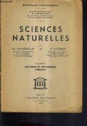 Sciences Naturelles - Fascicule 1 Anatomie Et Physiologie Animales - Nouveaux Programme - Incomplet. - Couverture - Format classique