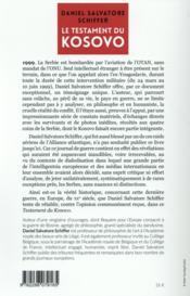 Le testament du Kosovo : journal de guerre - 4ème de couverture - Format classique
