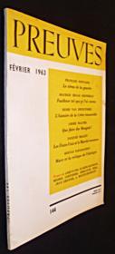 Preuves. n°144. Février 1963 - Couverture - Format classique