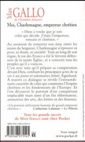 Moi, Charlemagne, empereur chrétien - 4ème de couverture - Format classique