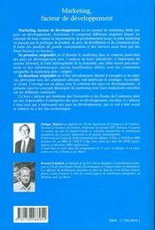 Marketing Facteur De Developpement ; L'Emergence Des Pays Du Sud - 4ème de couverture - Format classique