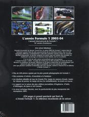 Annee Formule 1 2003-2004 (édition 2003/2004) - 4ème de couverture - Format classique