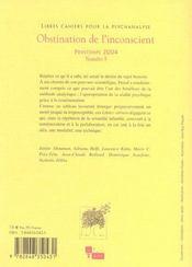 Libres cahiers pour la psychanalyse n 9 2004 obstination de l' inconscient - 4ème de couverture - Format classique