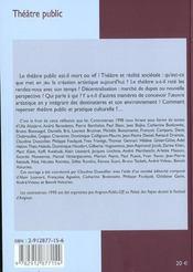 Theatre public - controverses - 4ème de couverture - Format classique