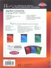 Algèbre-géométrie ; 2ème annee pc-pc*-psi-psi*-pt-pt* (édition 2004) - 4ème de couverture - Format classique