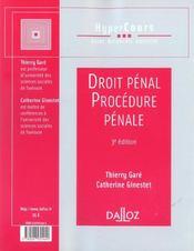Droit Penal Et Procedure Penale - 4ème de couverture - Format classique