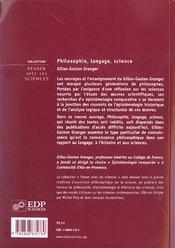 Philosophie, langage, science - 4ème de couverture - Format classique