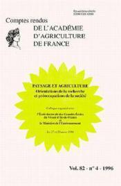 Paysage et agriculture : orientations de la recherche et preoccupations de la societe (comptes rendu - Couverture - Format classique