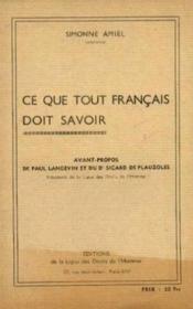 Ce que tout les français doit savoir - Couverture - Format classique