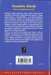 Souvenirs D'Ecole - 4ème de couverture - Format classique