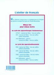 L'ATELIER DE FRANCAIS ; CM2 ; cahier d'activités - 4ème de couverture - Format classique