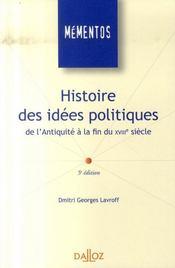 Histoire des idées politiques de l'antiquité à la fin du XVIII siècle (5e édition) - Intérieur - Format classique