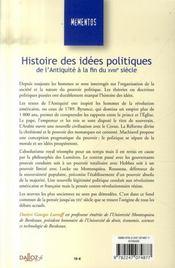 Histoire des idées politiques de l'antiquité à la fin du XVIII siècle (5e édition) - 4ème de couverture - Format classique