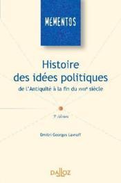 Histoire des idées politiques de l'antiquité à la fin du XVIII siècle (5e édition) - Couverture - Format classique