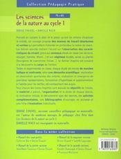 Les sciences de la nature au cycle 1 - 4ème de couverture - Format classique
