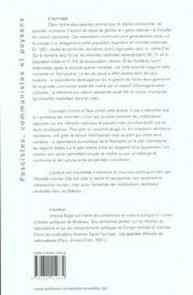 Fascistes, Communistes Et Paysans. Sociologie Des Mobilisations Identitaires - 4ème de couverture - Format classique