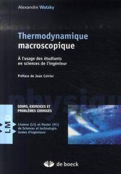 Thermodynamique macroscopique - Intérieur - Format classique