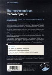 Thermodynamique macroscopique - 4ème de couverture - Format classique