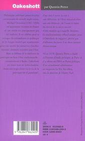 Oakeshott - 4ème de couverture - Format classique