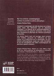 Sur La Science Cosmologique - 4ème de couverture - Format classique