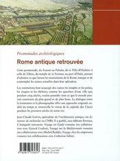 Rome antique retrouve - 4ème de couverture - Format classique
