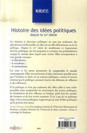Histoire des idées politiques depuis le XIX siècle (9e édition) - 4ème de couverture - Format classique