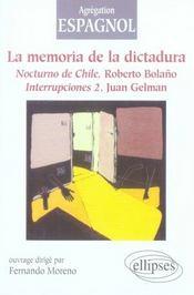 La mémoire de la dictature : nocturno de chile, roberto bolano ; interrupciones 2, juan gelman - Intérieur - Format classique